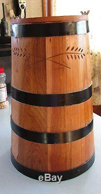 Cherry Wood Butter Churn Staved Banded Churner Dash Lid ALL HAND MADE