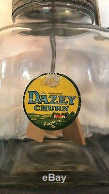 Dazey Glass Butter Churns with Wooden Paddles (4)