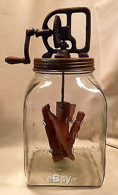 Extra Large No. 80 Dazey Churn Glass Butter Churn with Wood Paddle