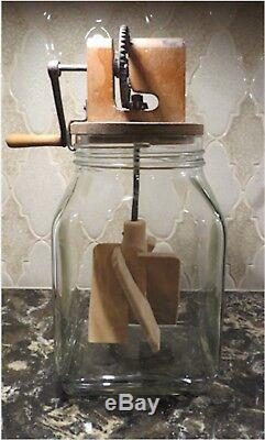 Glass Butter Churn 4 Qt Unmarked Rare Wooden Unusual Top