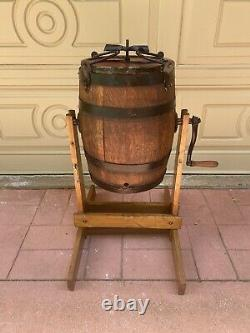 H. H. PALMER ROCKFORD, ILLINOIS Wood Barrel Primitive Butter Churn withStand