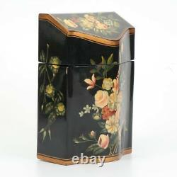 JEANNE REED PAINTED LACQUER KNIFE BOX With SWEET VICTORIAN FLORAL DESIGN