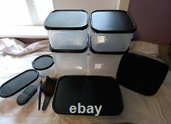 LOT OF 9 + Tupperware Modular Mates Containers W Black Seal Lids & Gadgets