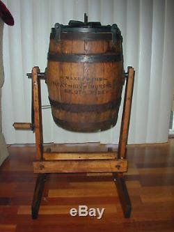 Large Antique Acme Ball Wood Butter Churn, with original Stand No. 0