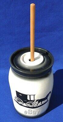 Large Antique/Vtg HORSE & CARRIAGE Black & White Ironstone Pottery Butter Churn