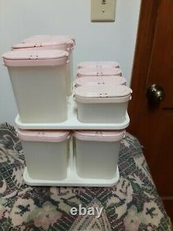 Large Lot Of 33 Tupperware Modular Mate Spice Shaker Containers & More Pink Lids