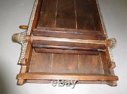 Late 1800's Antique Wooden/Cast Iron Hand Crank Butter Worker Box 35 x 19