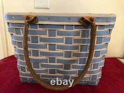 Longaberger Take me Away Tote Basket, French Blue With Protector Set