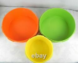 Lot of 8 Vintage 70s Tupperware Canisters Harvest Colors Orange Green Yellow