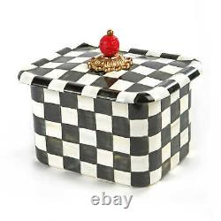 Mackenzie Childs COURTLY CHECK Enamel RECIPE BOX with Cards NEW m21-jn