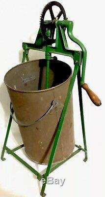 Magnificent 24 Antique Metal Tin Barrel Butter Churn With Original Carrier