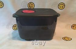 NEW Tupperware Microwave Rock N' Serve Large 5 pc. Black withRed Rocker Vent