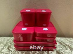 New Tupperware Beautiful Set of 7 Freezer Mates with Date Dial-In Shade of Red