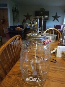 No. 34 Dazey Churn Glass Butter Churn with Wood Paddle