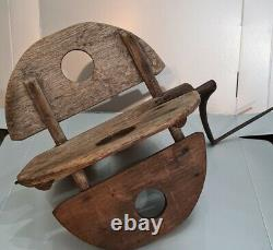 OLD ANTIQUE PRIMITIVE MASSIVE BUTTER WOODEN PADDLE for CHURN WithHAND CRANK