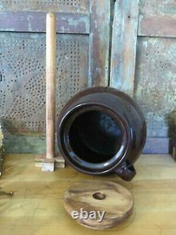 Old Primitive Stoneware Butter Churn w Handle Lid & Dasher Chocolate Brown