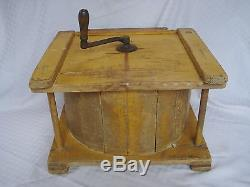 Primitive 19th Century Antique Mustard Yellow Painted Butter Churn Cow Stencil
