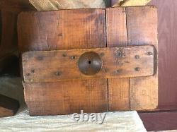 Primitive Wooden Richmond (R. C. W.) Table Top Wood Paddle Hand Crank Butter Churn