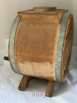 Primitive Wooden Table Top Wood Paddle Hand Crank Butter Churn