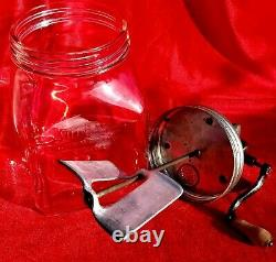 REAR Vintage Sunbeam Mixmaster Glass Churn No40 with metal top, and Metal Paddle