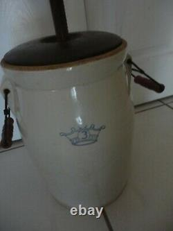 Robinson Ransbottom Blue Crown #3 Butter Churn With Handles USA Primitive