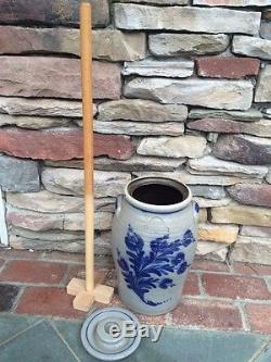 Rowe Pottery Vintage Butter Churn & Dasher Cobalt and Glazed Stamped 1982 NICE