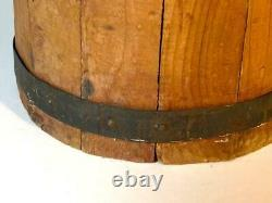 Tall Antique Primitive Wood Slat Butter Churn with Metal Bands, Lid and Dasher