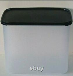 Tupperware Clear Storage Container Modular Mates #4 x 3 Rectangle Black Seal