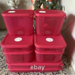 Tupperware Freezer Mates 8 Pc Set Red W Date Dial In Freeze Containers New