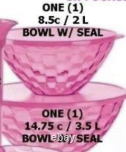 Tupperware Ice Prisms Set Tumblers Galln Pitcher Bowls Plates Serving Tray Pink