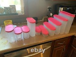 Tupperware, Modular Mates, Clear with Pink Lids