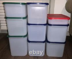 Tupperware Modular Mates Set of 9 Square #1- #4 Blue, Green And Red Lids