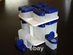 Tupperware Modular Mates Spice Carousel Shaker Containers Set Vtg Bold N Blue