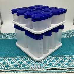 Tupperware Modular Mates Spice Rack Carousel with 16 Shakers Blue