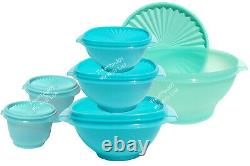 Tupperware Servalier Bowl Set in Shades of Blue and Mint Classic Favorites New