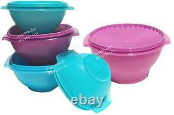 Tupperware Servalier Bowl Set in Shades of Blue and Purple Classic Favorites New