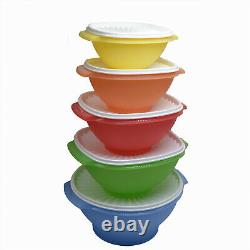 Tupperware Servalier Bowls Sheer Pastel with White Seal Lids Set of 5