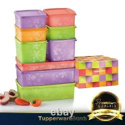 Tupperware Snowflake Square Round Set / Containers / Canister / Gift Box (9pcs)