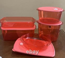Tupperware Vent-n-serve Rectangular & Round Set-in Clear & Guava Color