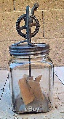 VINTAGE DAZEY CLEAR GLASS BUTTER CHURN 3 QT NO. 30-made in ST. LOUIS