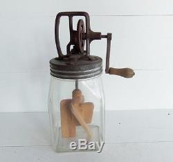 VINTAGE ELGIN Sears & Roebuck 2 QT Antique Glass BUTTER CHURN Mixer PADDLES