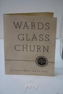 VINTAGE MONTGOMERY WARDS GLASS Butter Dairy Farm CHURN 8 QT USA Missing Handle