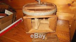 Vintage Wooden Table Top Butter Churn / Primitive Farm Tool / Very Solid Churn