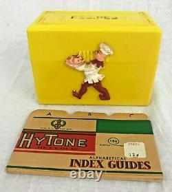 Vintage 1950's Yellow Plastic Recipe Box With Chef & Unopened Recipe Index Cards