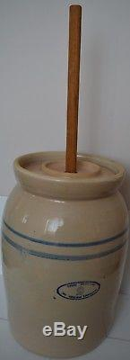 Vintage Antique Marshall Texas #5 Butter Chrun Stoneware with Upside down Logo