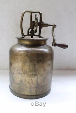 Vintage Antique Old Brass Butter Churn Original Collectible Nh3810