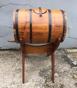 Vintage Antique Wooden Butter Churn Barrel Style with Stand Primitive Apple