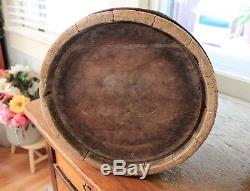Vintage Antique Wooden Butter Churn With Original Lid And Dasher