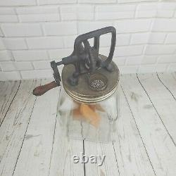 Vintage Butter Churn 4 qt. Glass Jar with Wooden Paddles Kitchen Ware