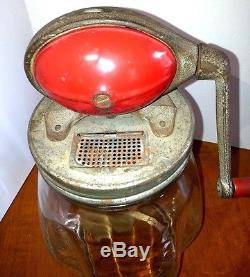 Vintage DAZEY BUTTER CHURN Tulip Glass-Red Football Top No. 4 Hand Crank